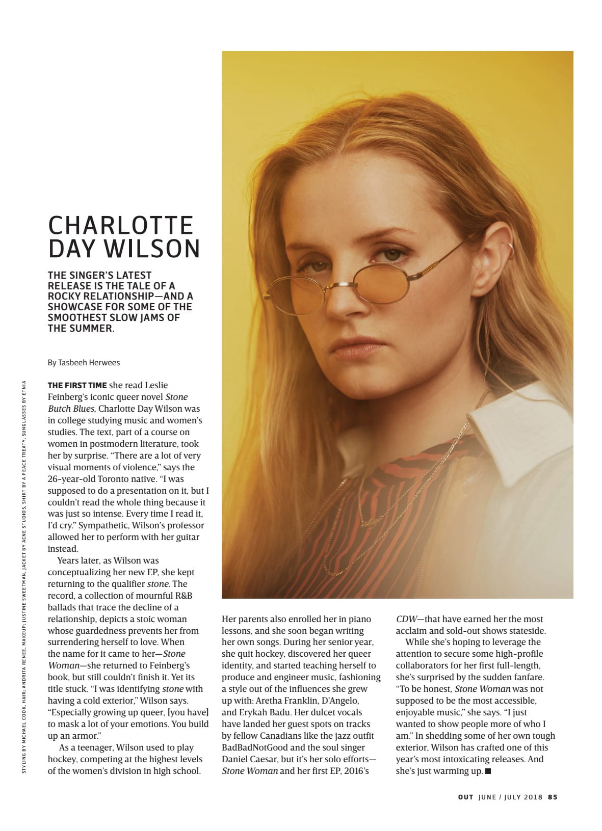 Profile of Charlotte Day Wilson for Out Magazine