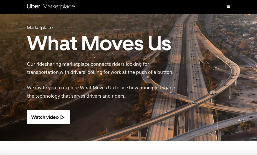 Uber Marketplace site for Enso