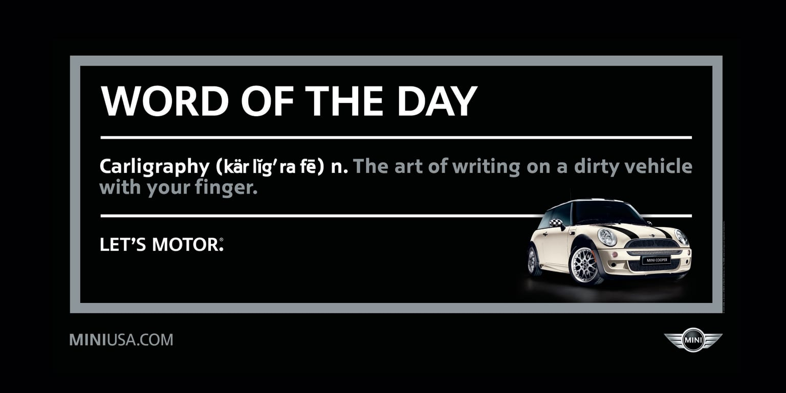 """MINI Cooper """"Word of the Day"""""""