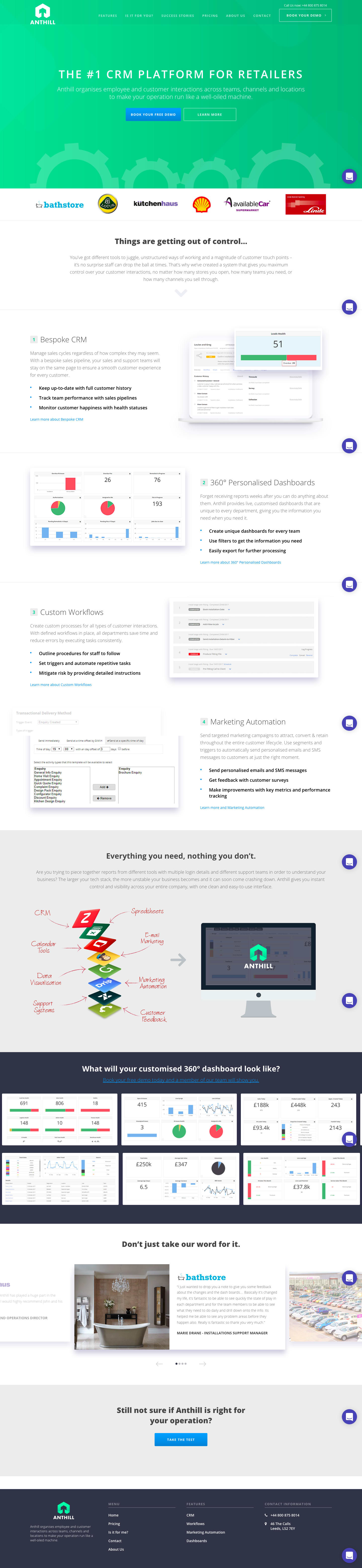 Anthill CRM landing page