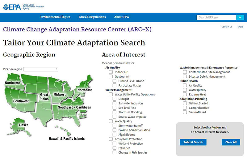 Climate Adaptation search tool for US EPA