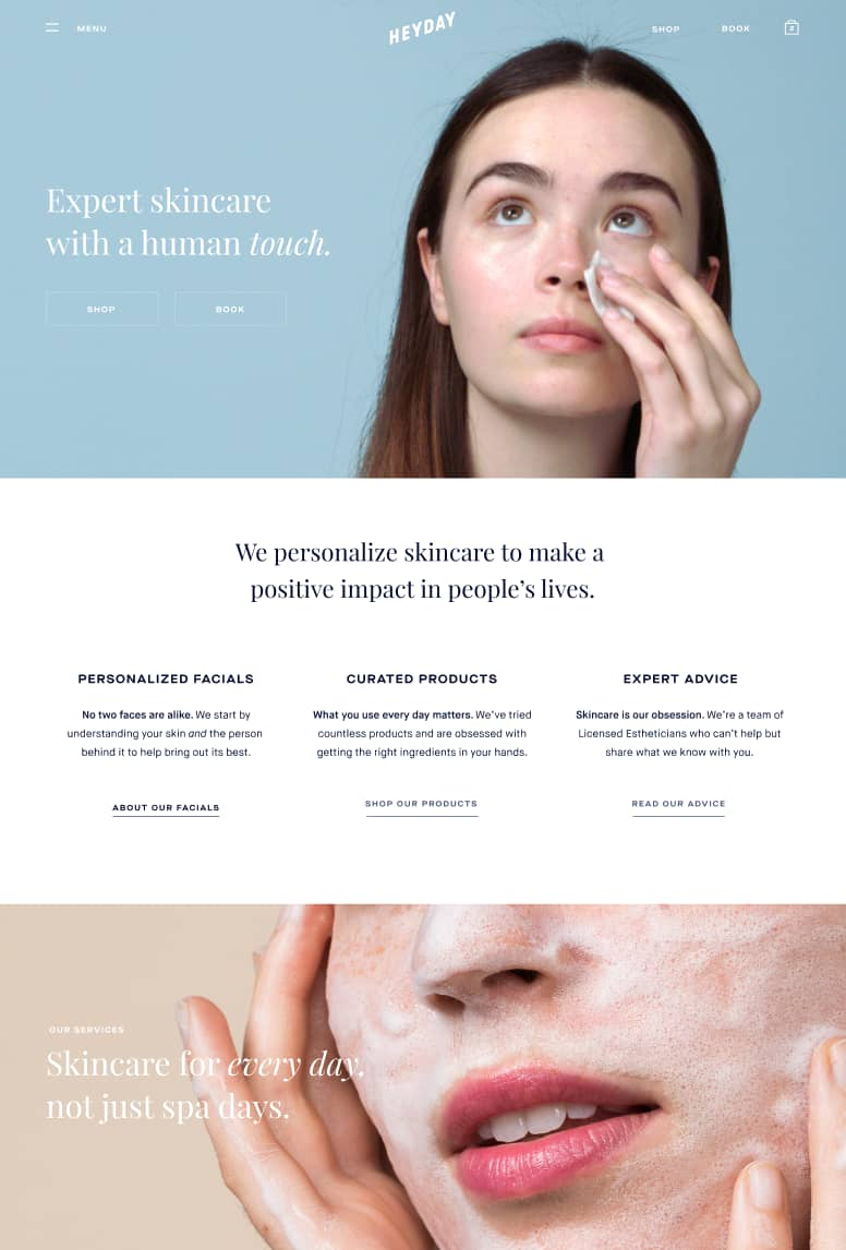 Heyday Skincare Website Copy Wnw