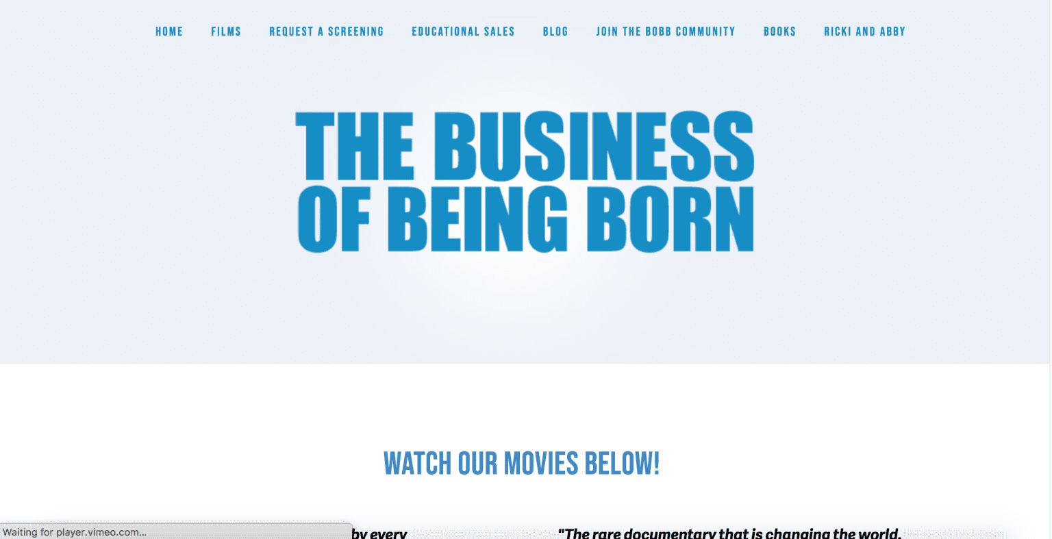Business Of Being Born - Design/Develop Homepage