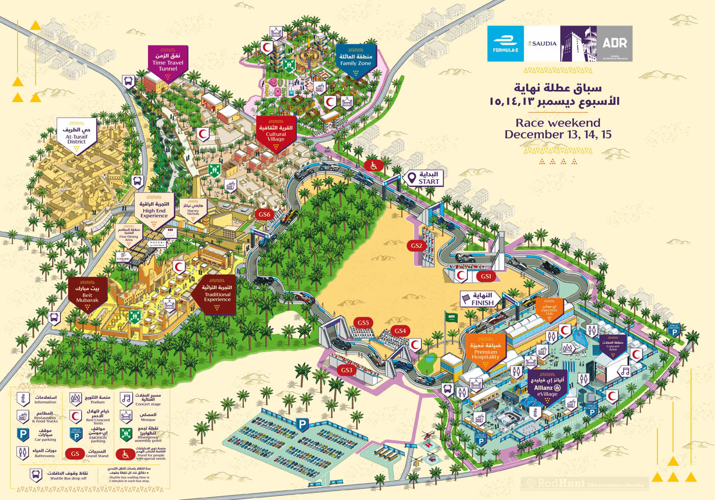 Formula E 2018 Ad Diriyah E-Prix Event Map Illustration