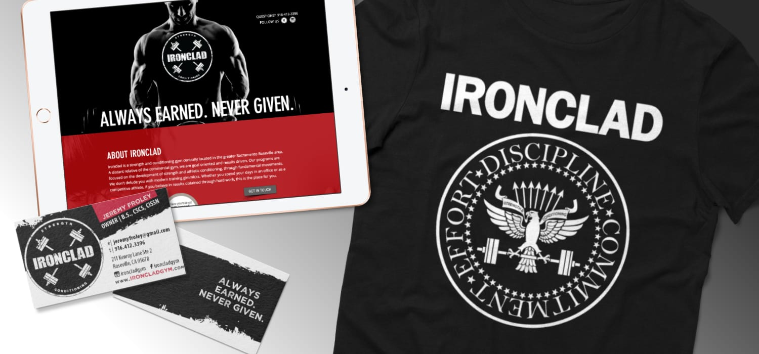 Local strength and conditioning gym's, business card, website, and apparel