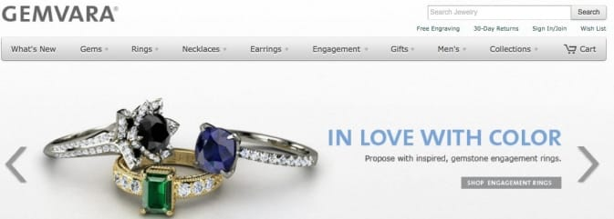 Gemvara in love with color home page slide