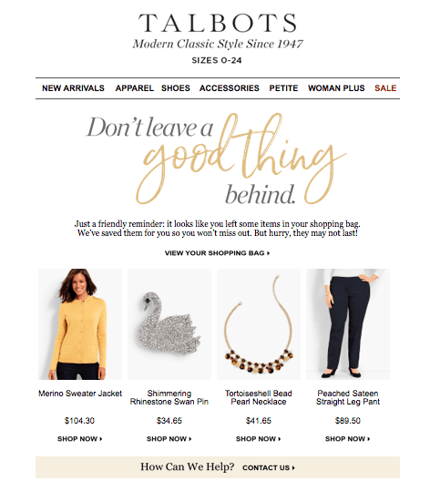 Talbots abandoned cart trigger email