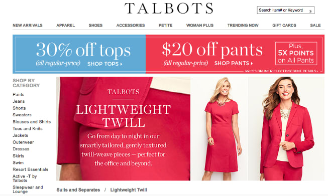 Talbots home page ad