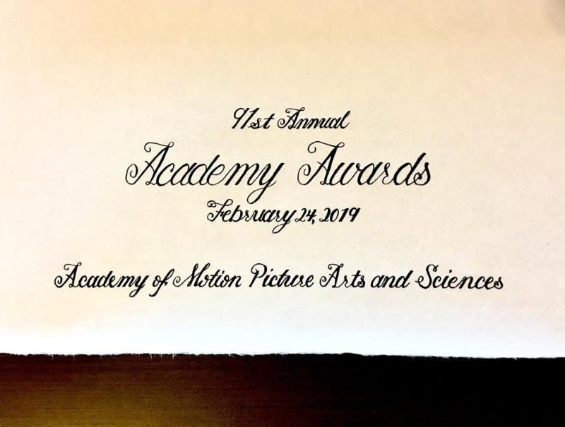 Calligraphy piece for 91st Academy Awards