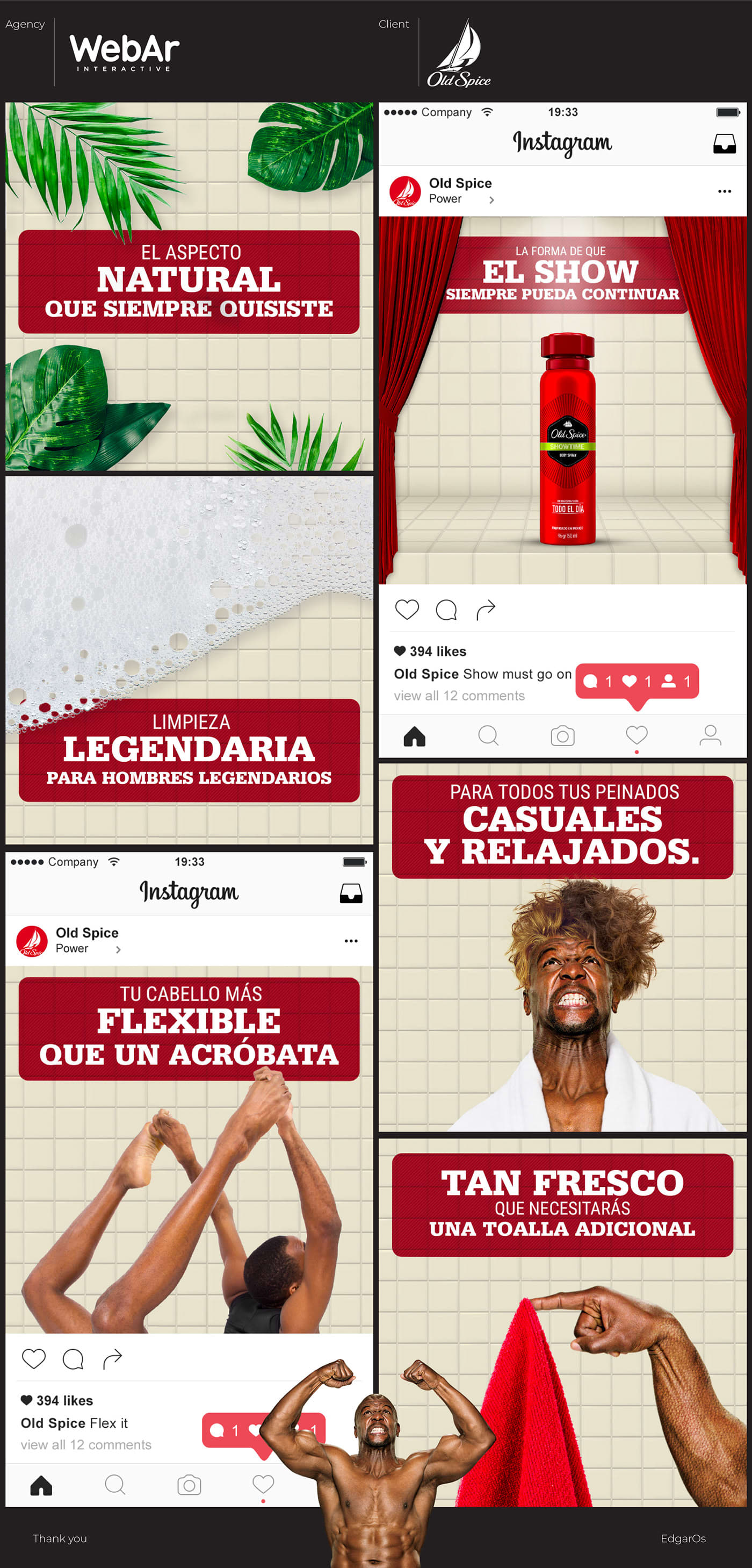 Old Spice e-site and social media images