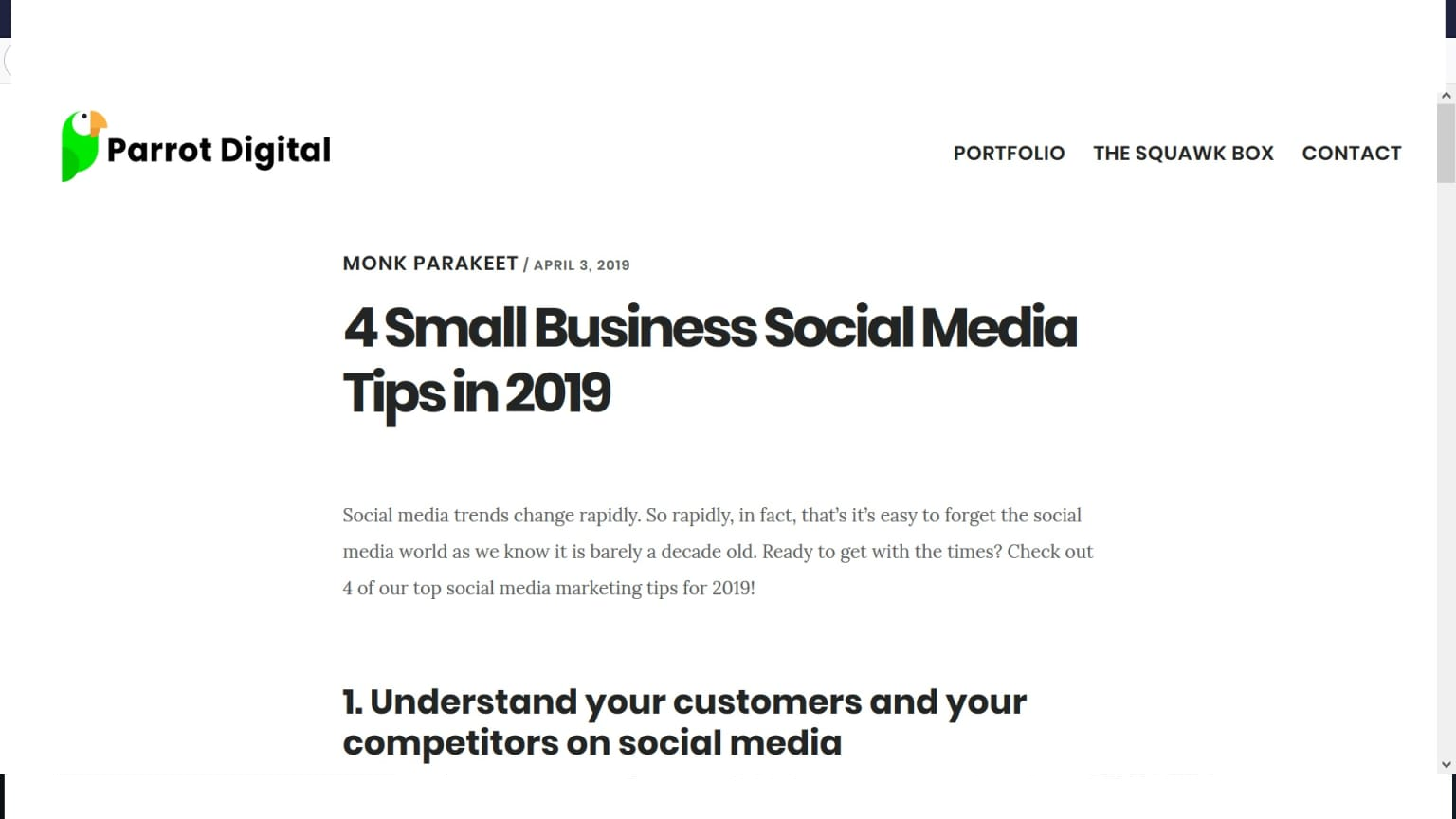 Small business social media tips copy for Parrot DM