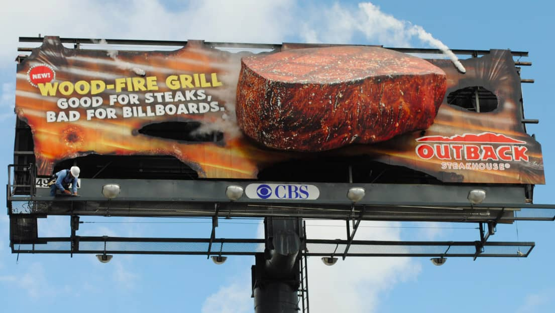 Outback Steakhouse Flaming Billboard