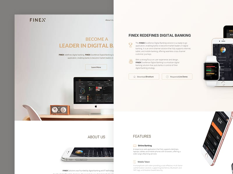 Banking Solutions Landing page redesign