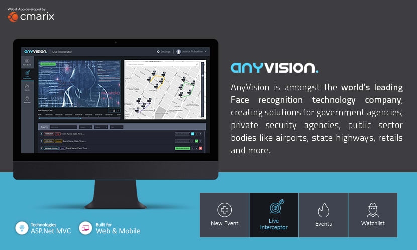AnyVision | Website & Mobile App (iPhone and Android) Face Recognition Tool