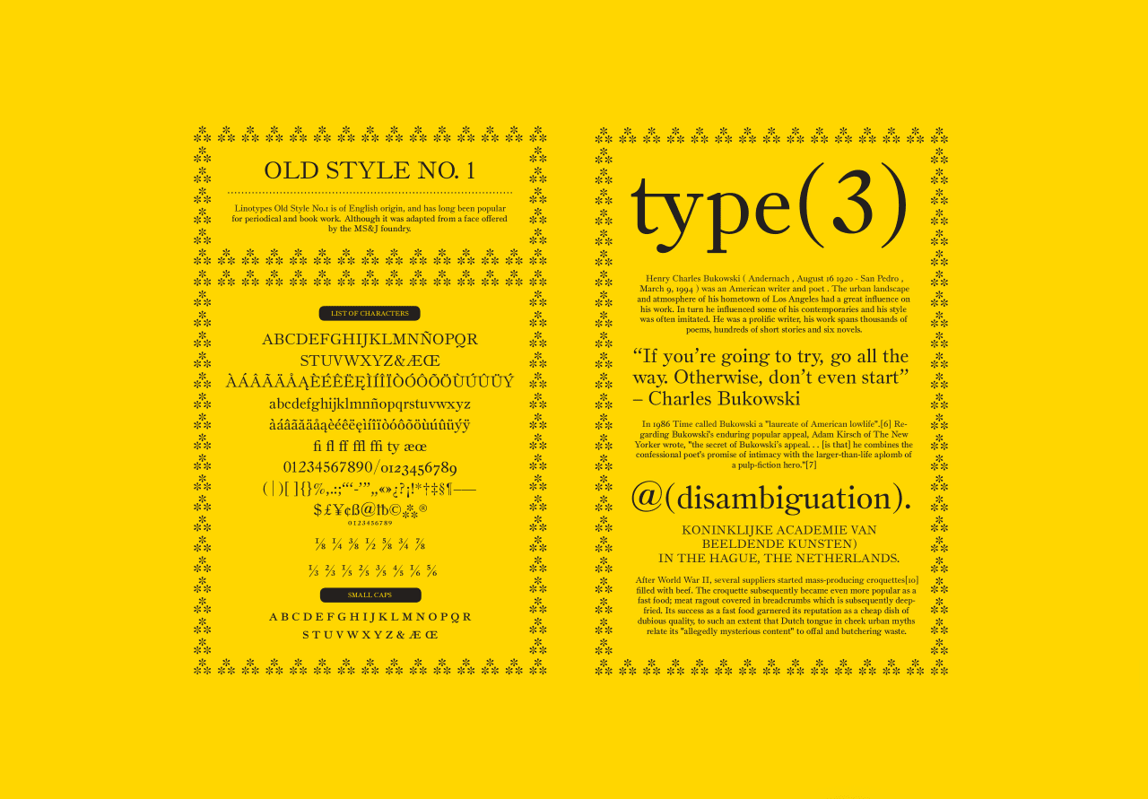 Old Style No.1 Typeface Design (Revival)