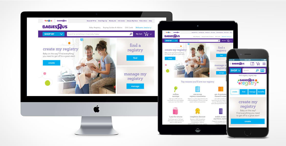 Babies R Us Registry Landing Page for all devices (Responsive)