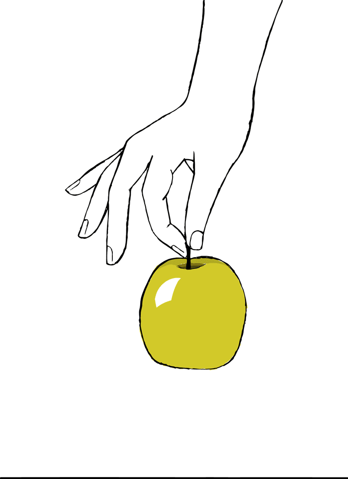 Hand Holding The Apple By the Stem