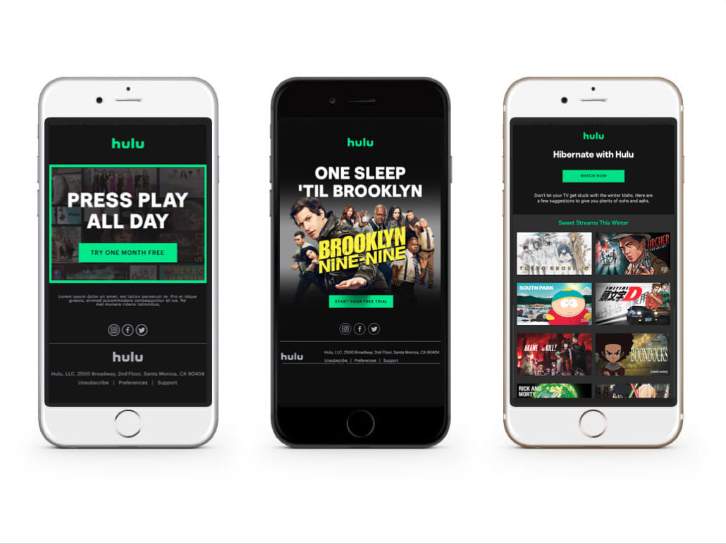 Hulu Acquisition Email Campaign