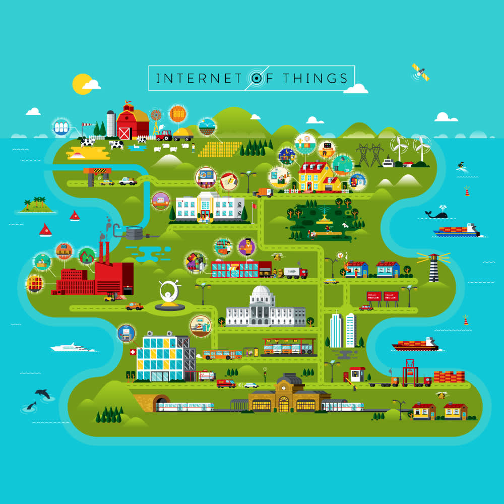 Internet of Things Map Illustration