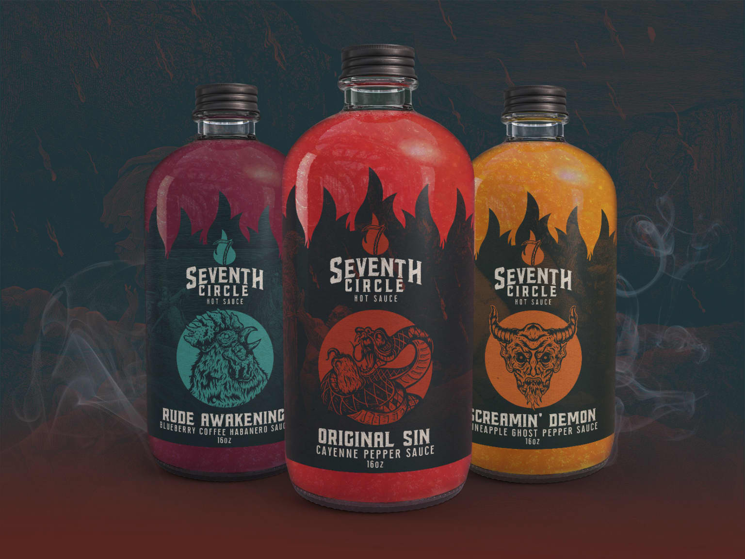 Seventh Circle Hot Sauce - Branding, Packaging, Collateral
