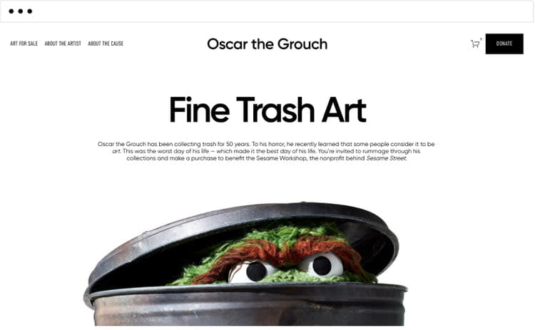 Oscar the Grouch Trash Cubes for Squarespace