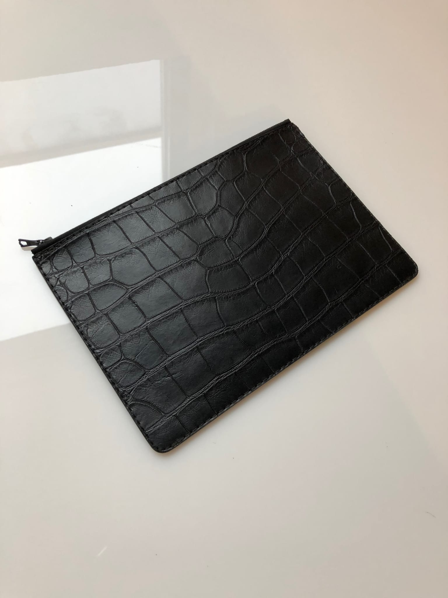 Alligator Leather Zip Pouch