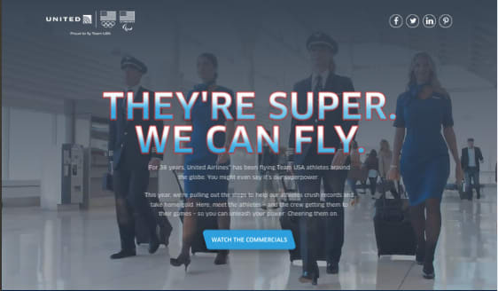 United Airlines + Winter Olympics Landing Page