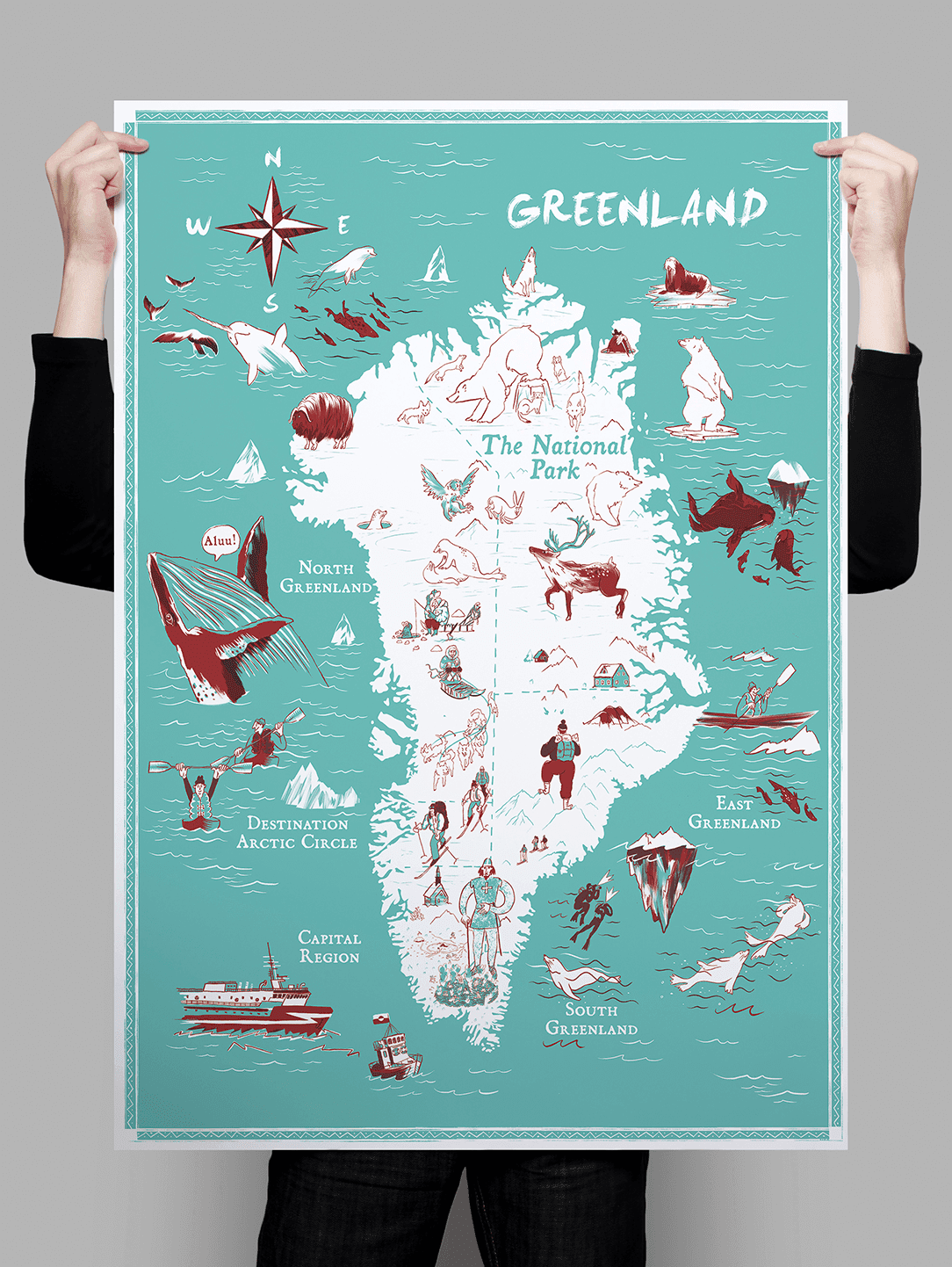 Visit Greenland Illustrated Map