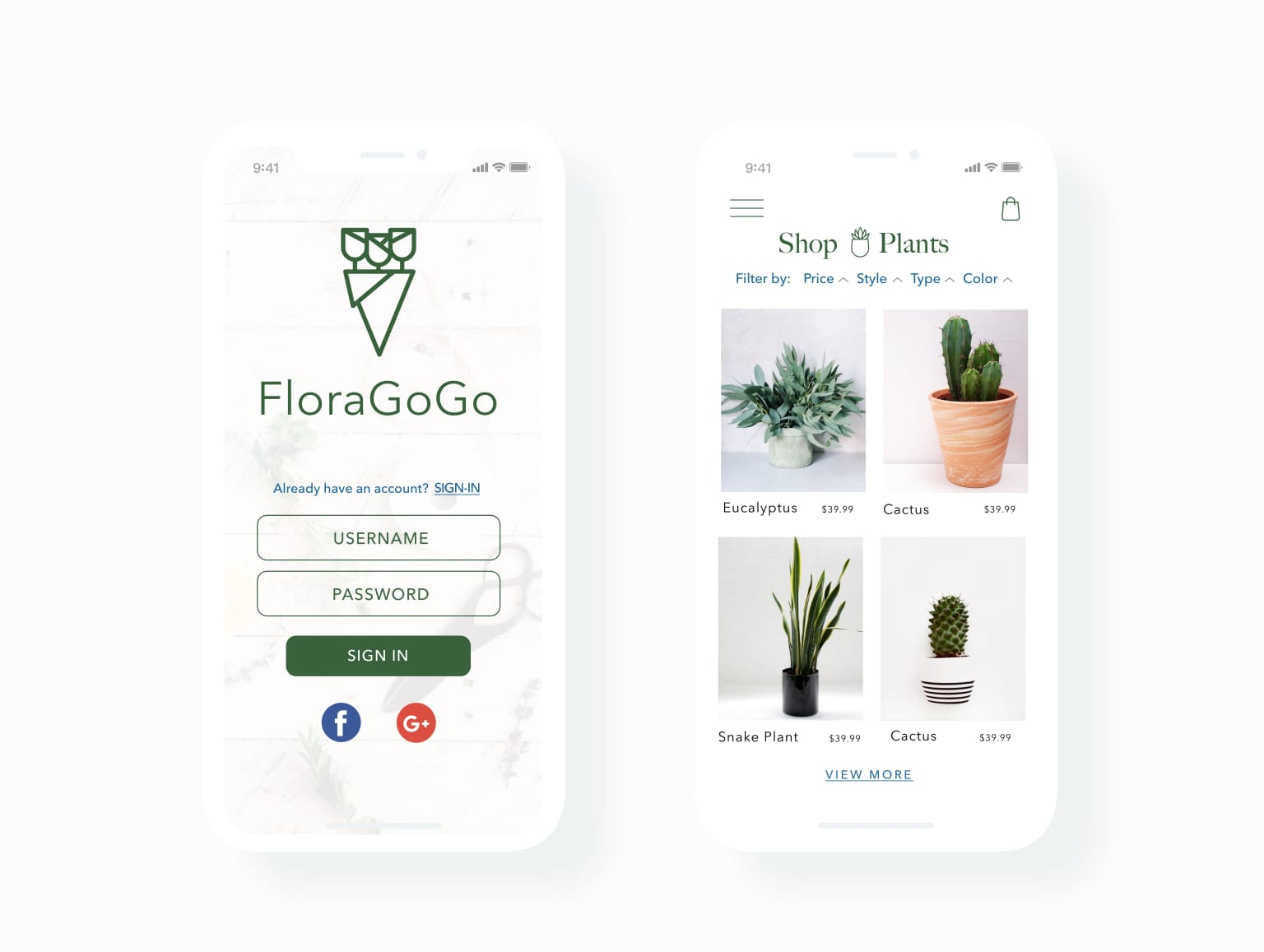 Floragogo Mobile App Design