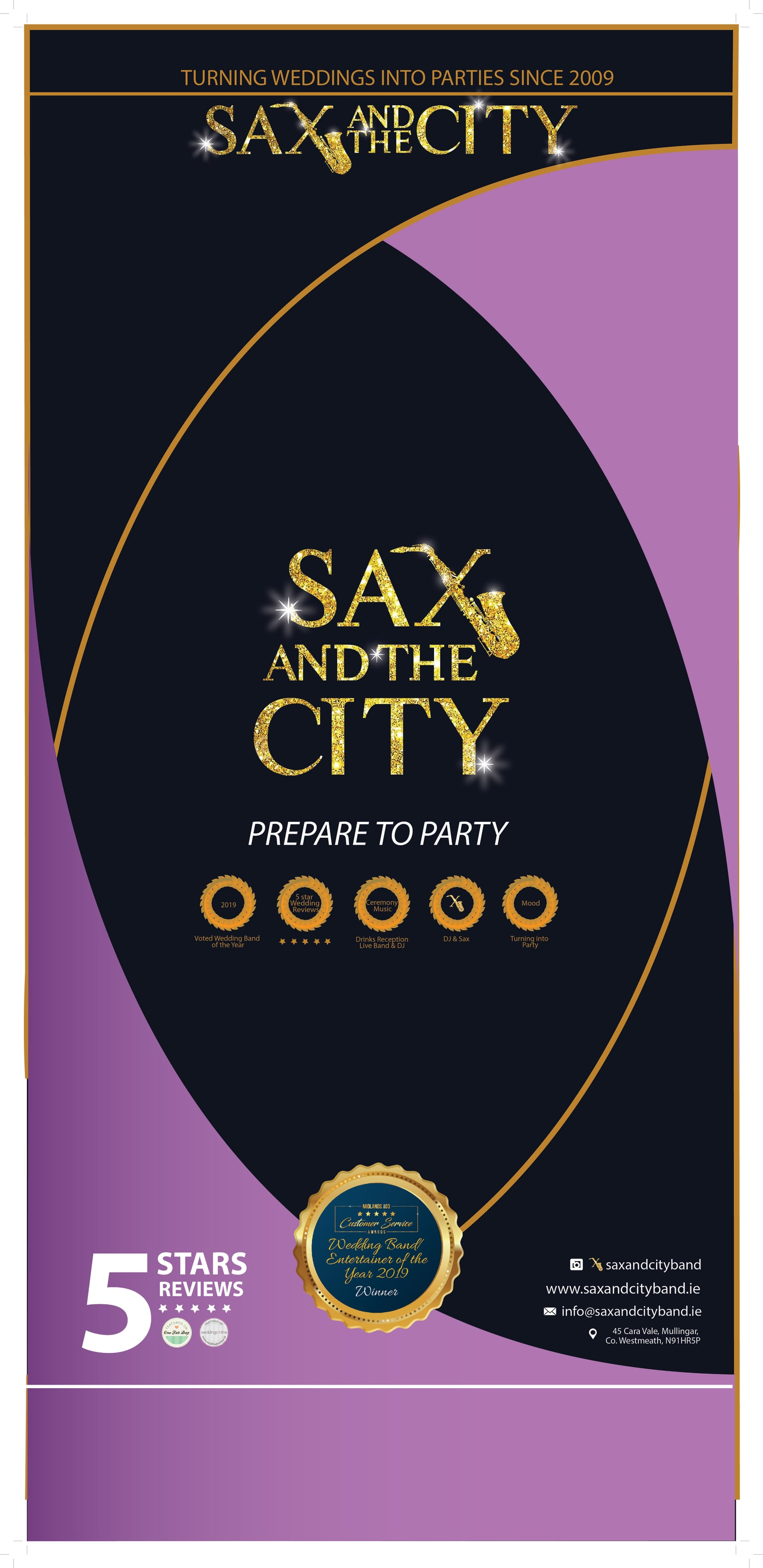 Sax and City Band Banner Design