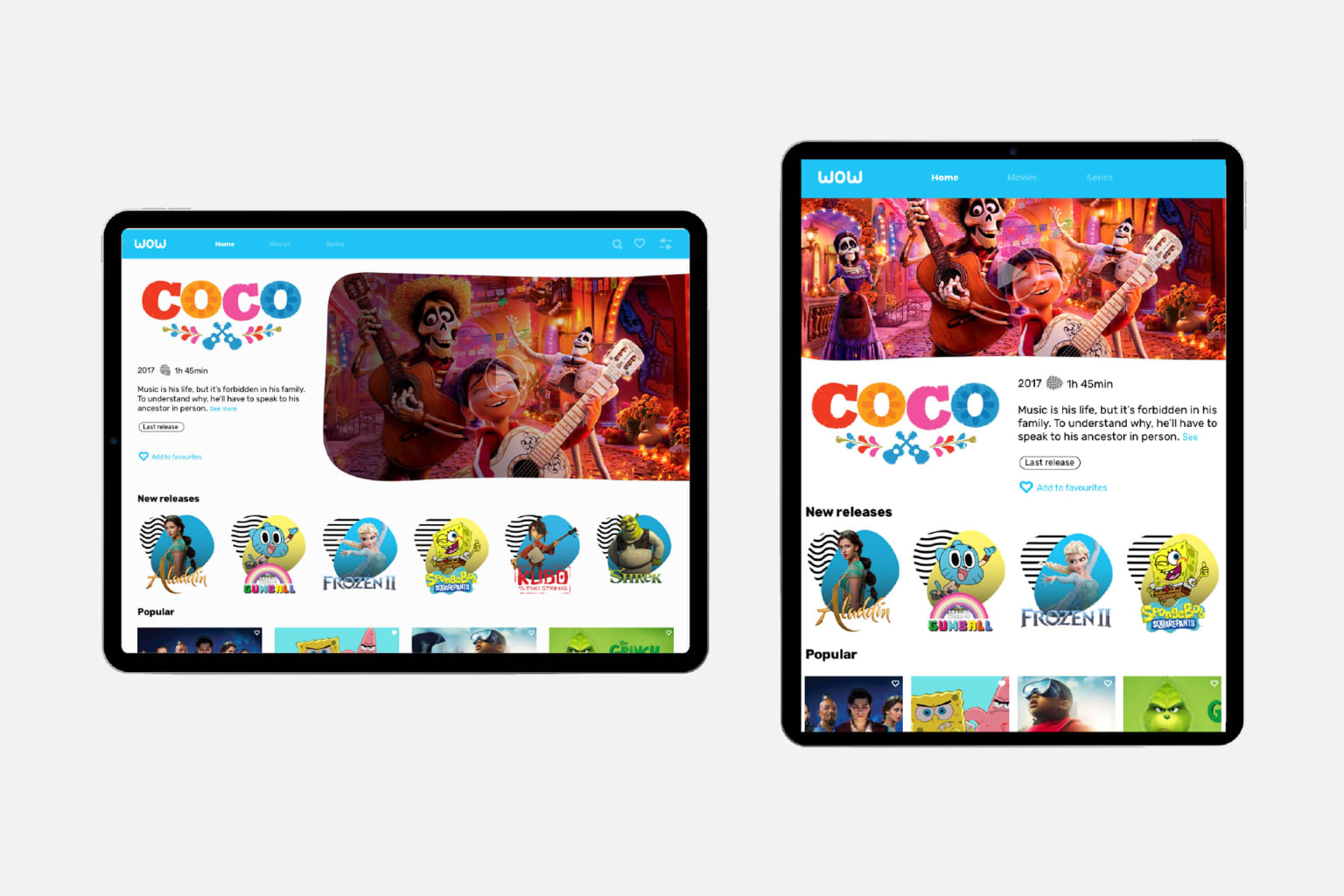 On-demand Streaming Tablet Application for Children concept
