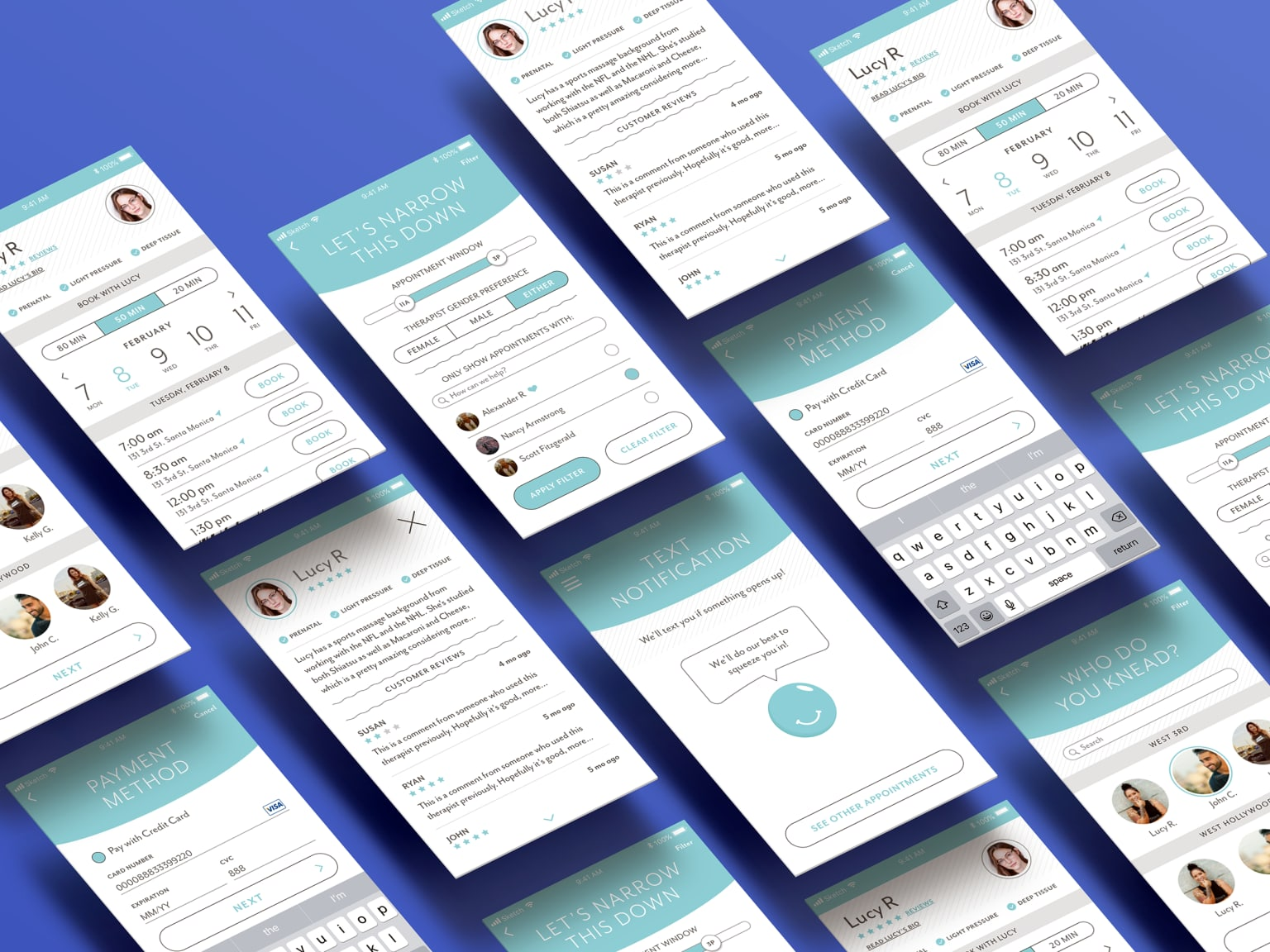 UI for massage app Squeeze