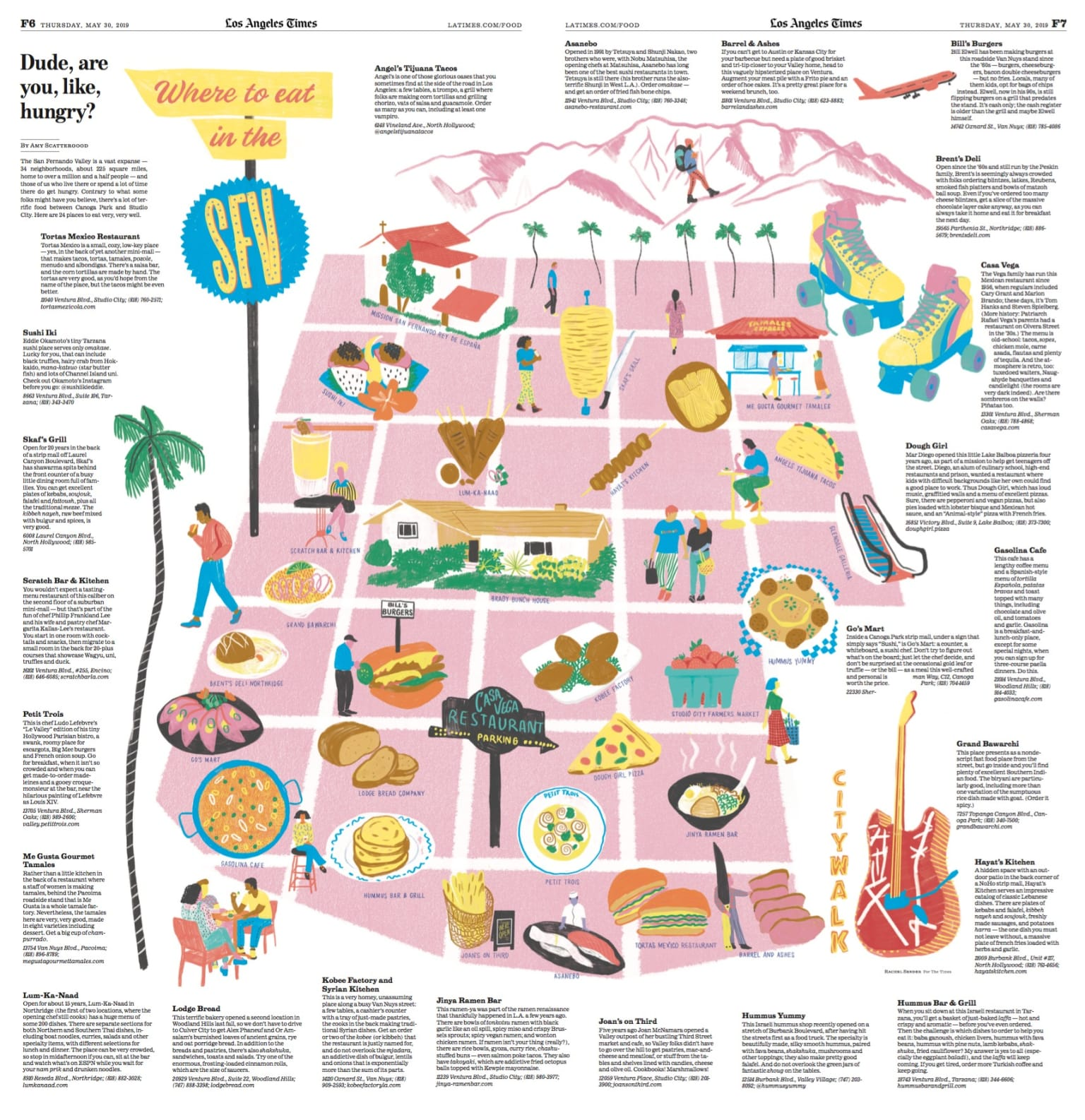 Illustrated food map for LA Times