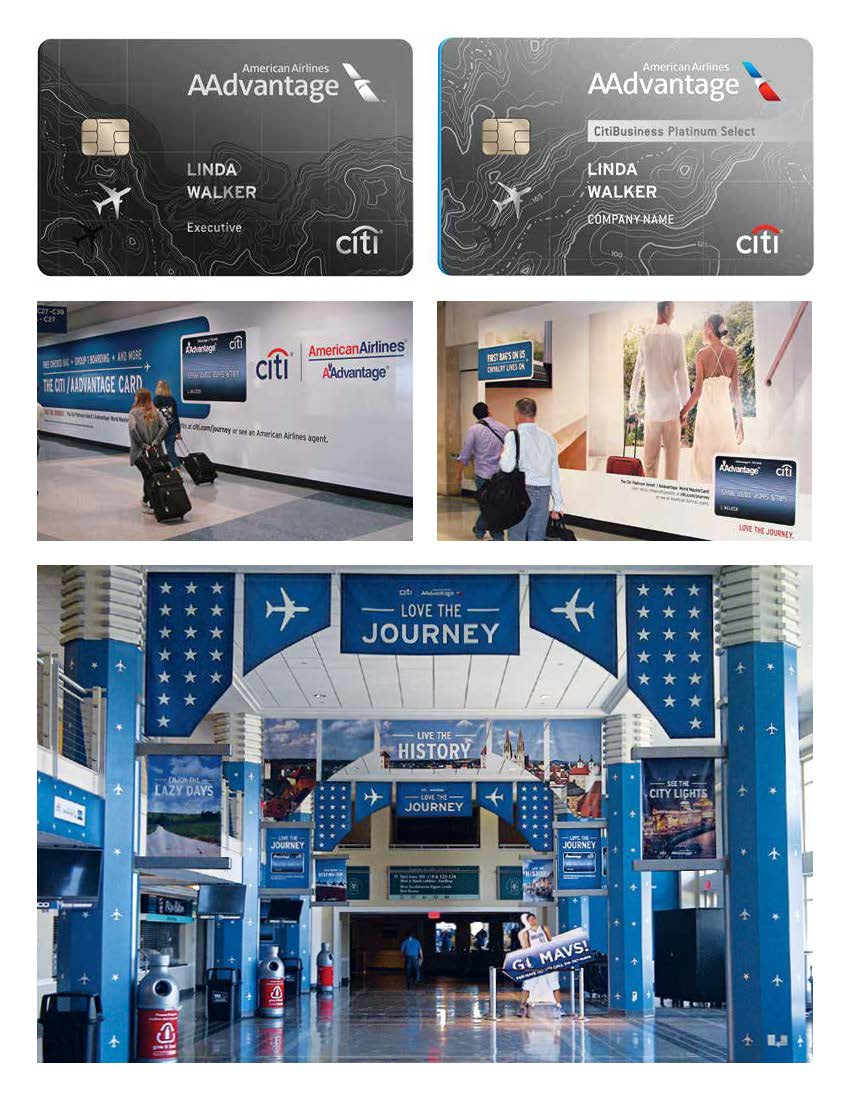 Citibank/American Airlines credit card designs and related OOH campaigns