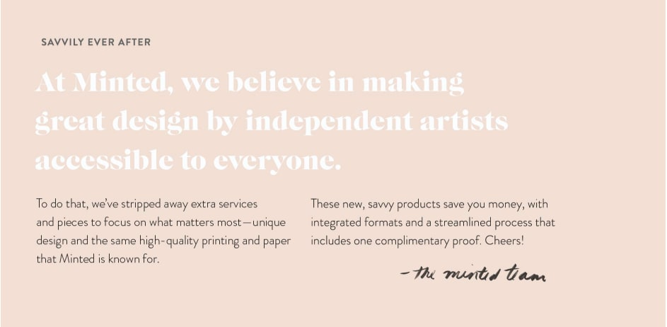 Minted's Budget-Friendly Wedding Services