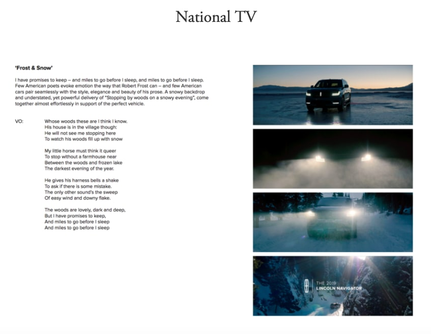 Lincoln Motor Co National TV (proof of concept)