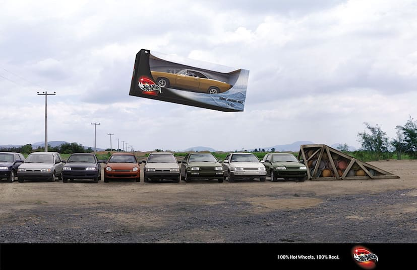 '100% Hot Wheels. 100% Real' — Ranked Top 10 World's Most Awarded Print Campaigns by the Gunn Report.