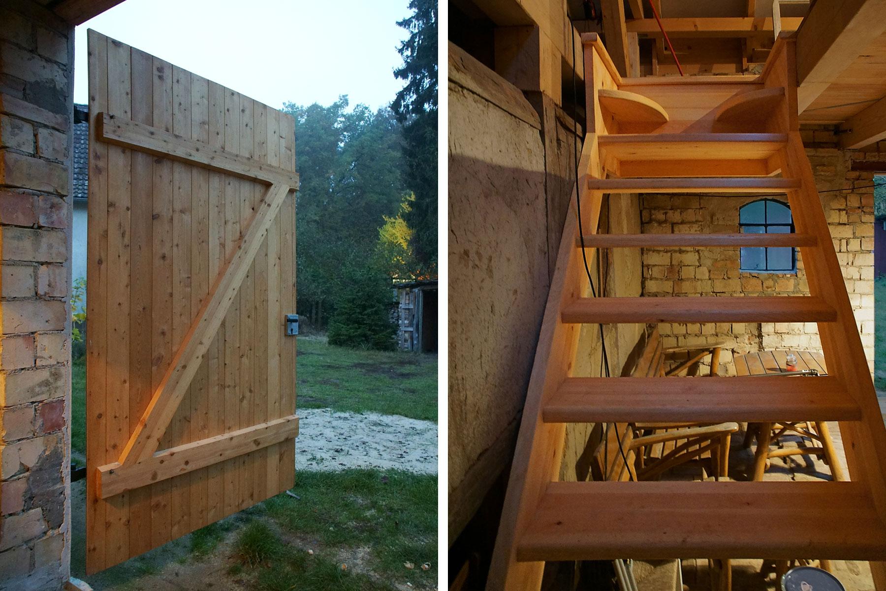 Scheune Fachwerk Mauerwerk Holztreppe