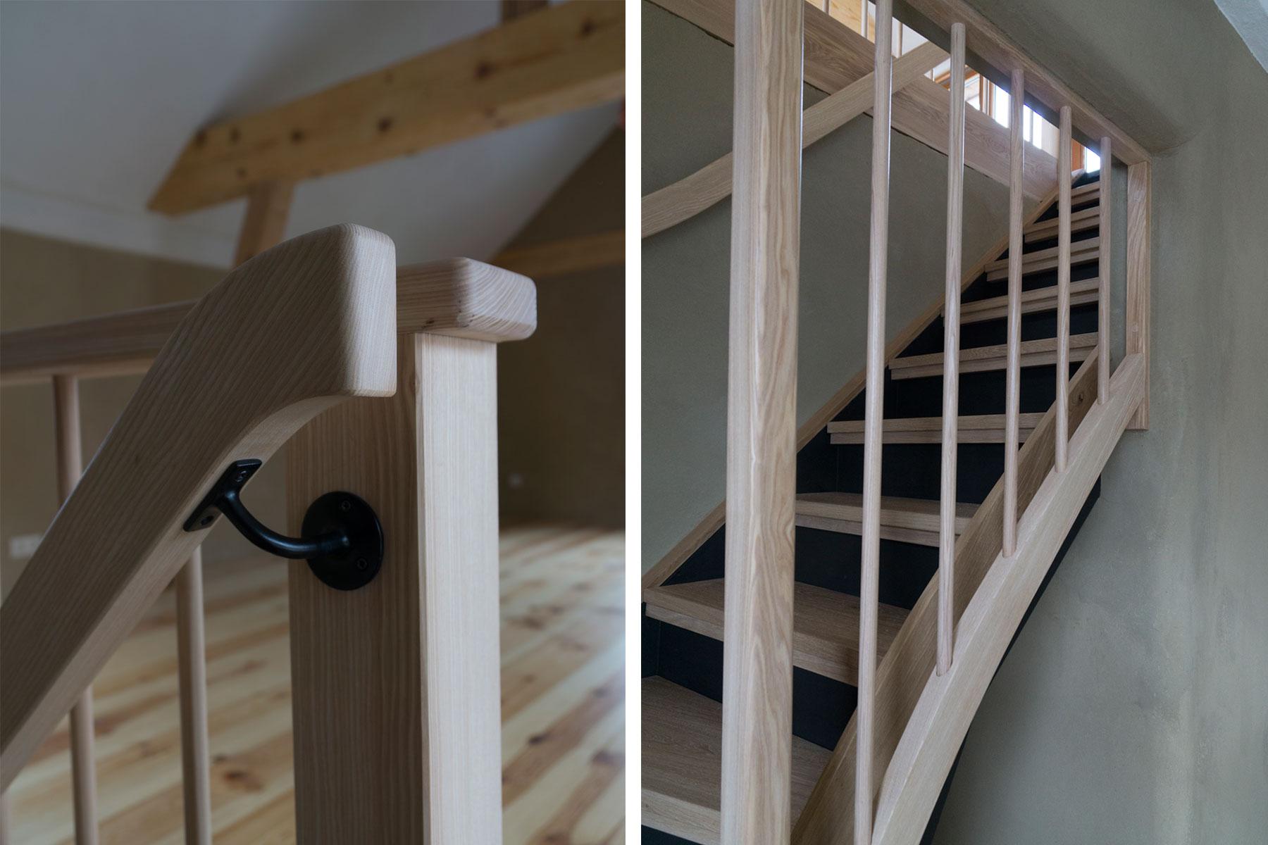 Lehmputz Holz-Treppe