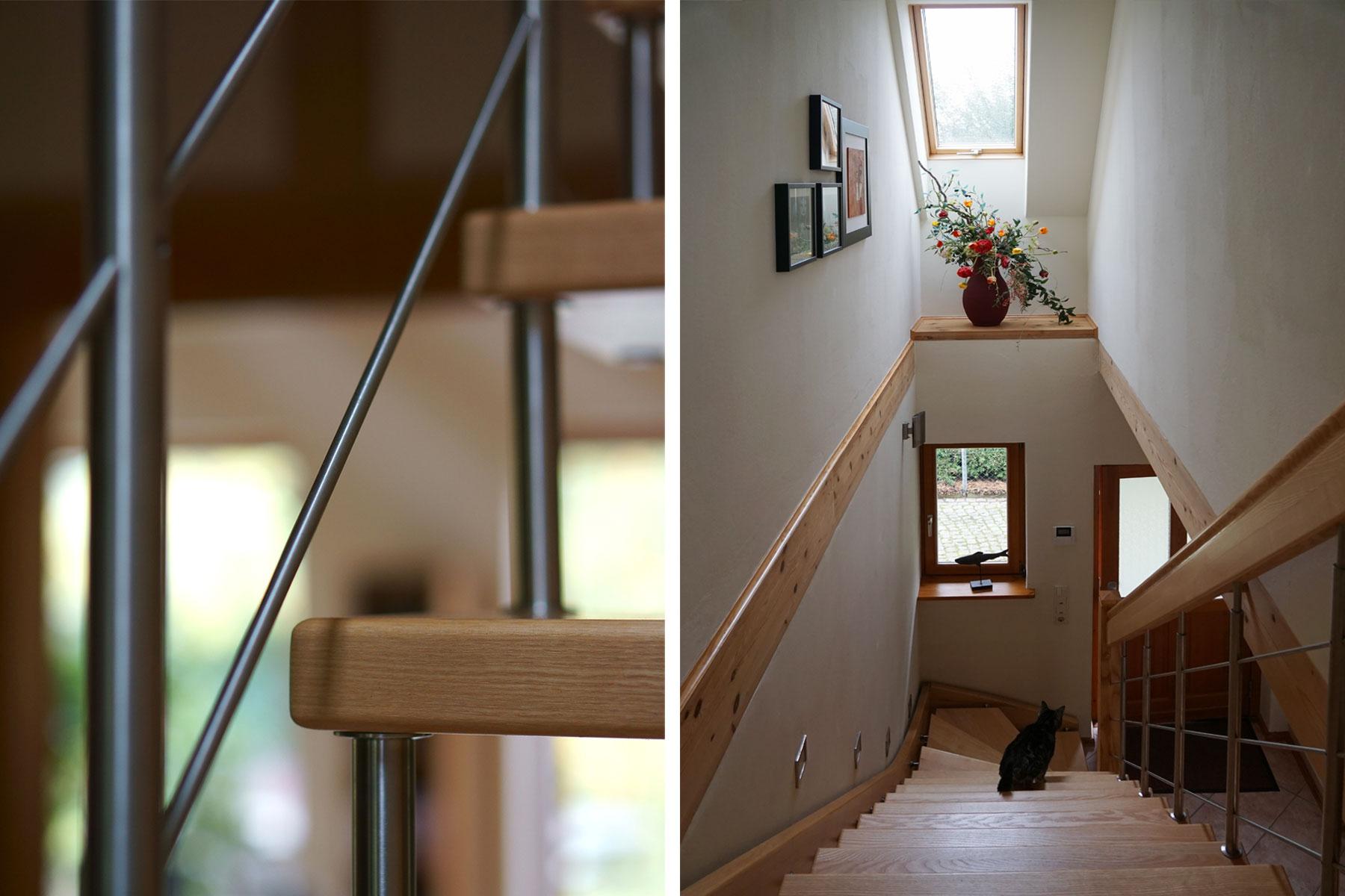 Holztreppe Stahlgeländer