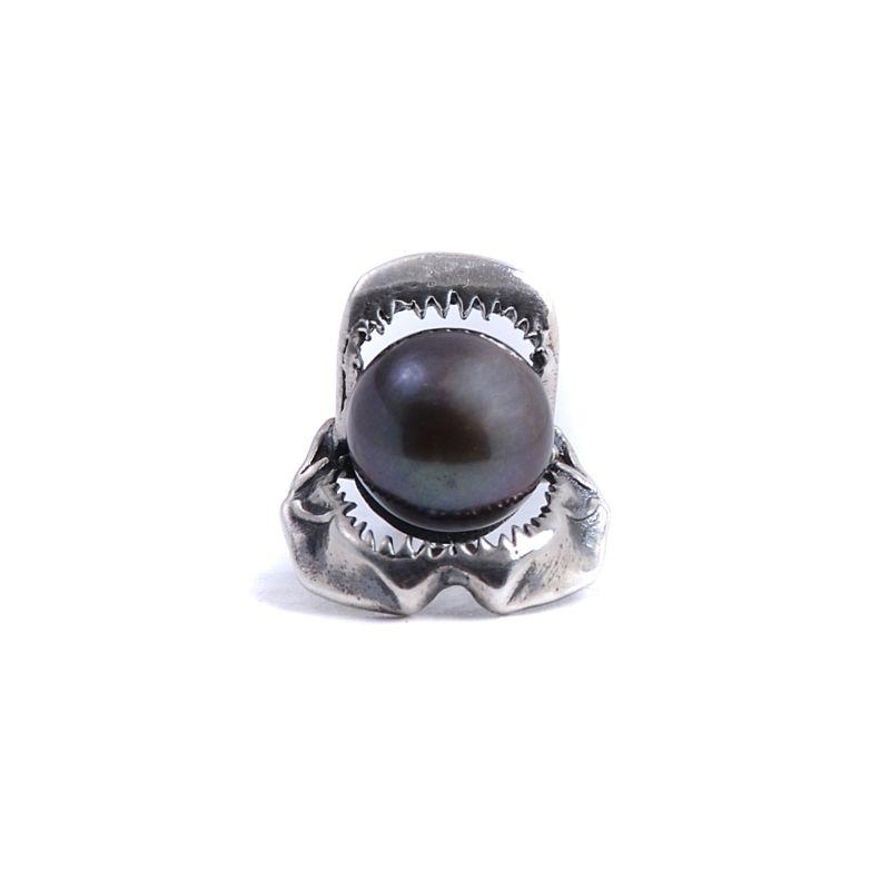 Shark Jawbone Tie Pin Pearl & Silver image