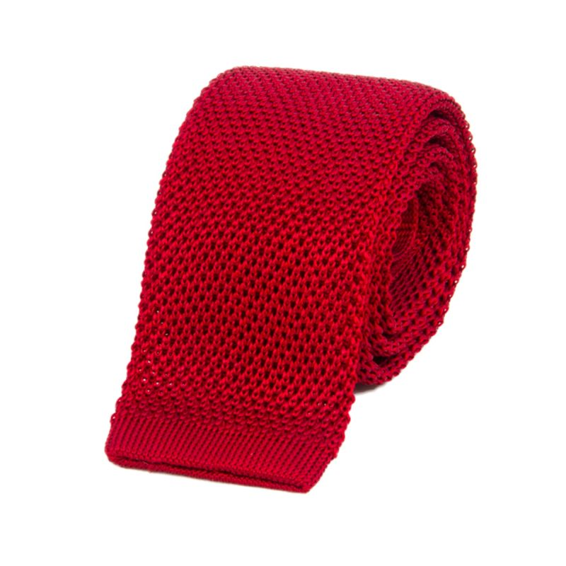 Ruby Red Solid Silk Knitted Tie image