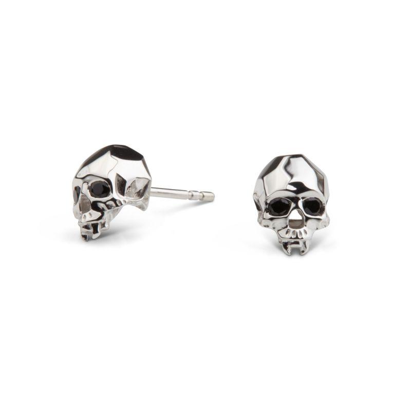 Vampire Skull Stud Earrings Silver image