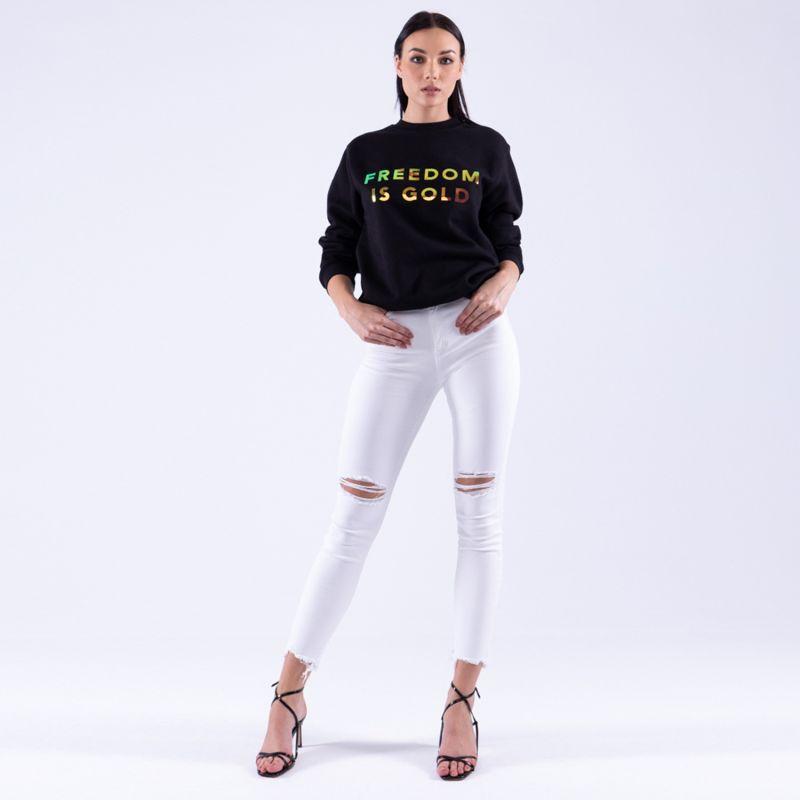 Sweatshirt Freedom Is Gold Hologramic Black image