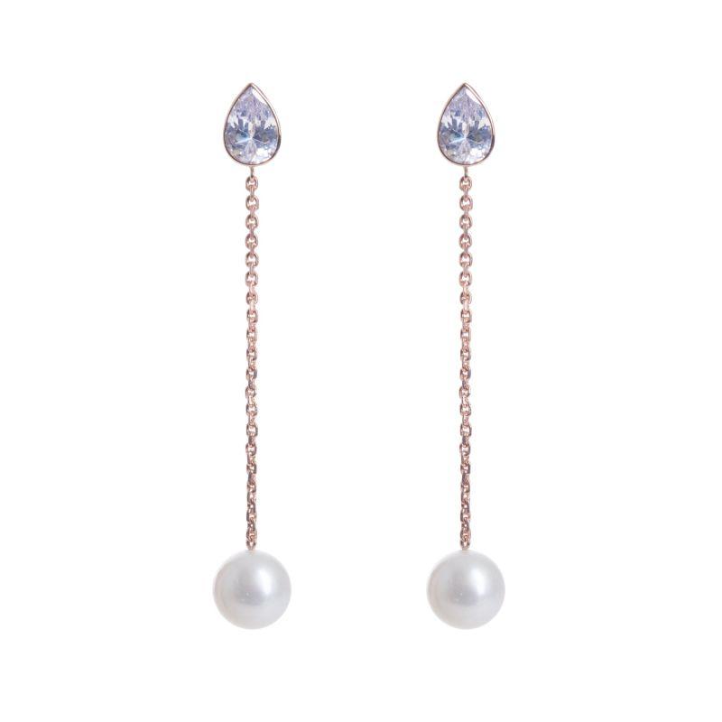 Long Cubic & Freshwater Pearl Drop Earrings image