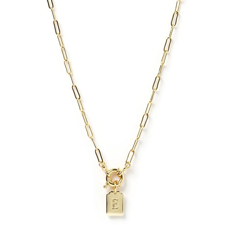 Letter Gold Tag Necklace E image
