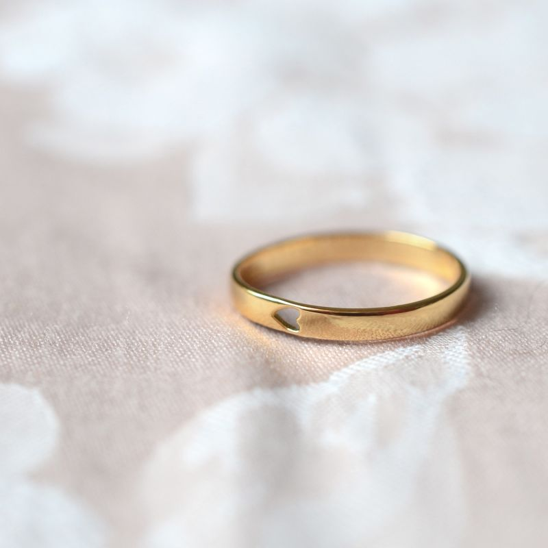 Gold Feel The Love Heart Stacking Ring image