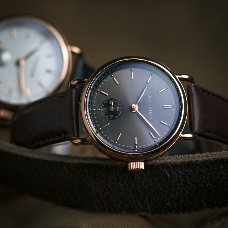 Earhart Rose Gold Grey - Tan Leather image