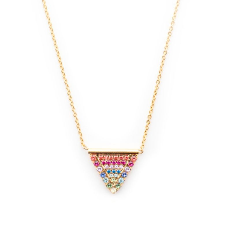 Crystal Encrusted Triangle Pendant Necklace - Bright Gold Prism image