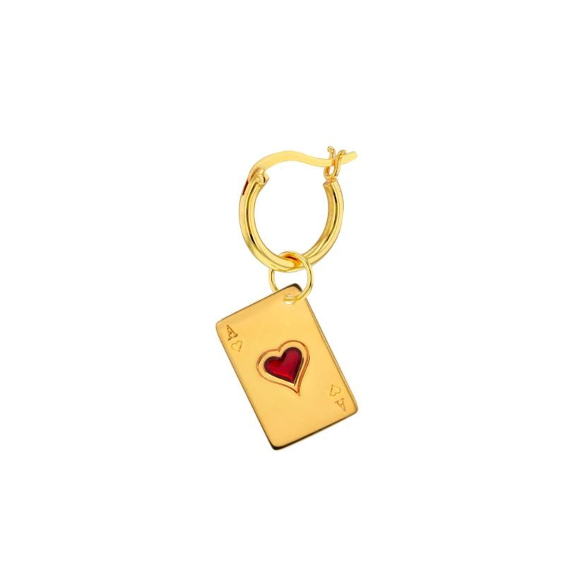 Ace Of Hearts Charm 18Kt Gold Plated & Red On Gold Hoop image